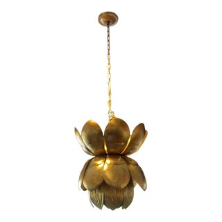 1970s Matched Pair Gold Leaf Metal Lotus Chandeliers Pendants - a Pair For Sale