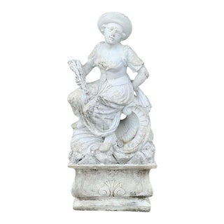 Large Versailles Style Cast Stone Statue of 'Harvest' on a Pedestal Base For Sale