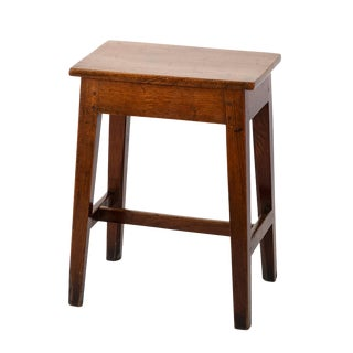 English Fruitwood Work Stool With H-Stretcher Circa 1870 For Sale