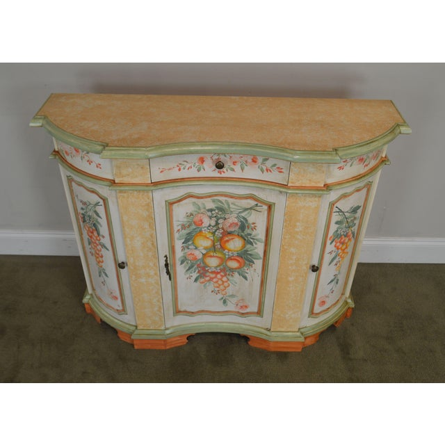 Wood Italian Hand Painted Narrow Serpentine Console Cabinet For Sale - Image 7 of 13