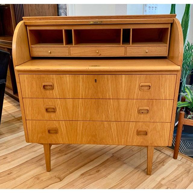 1960s Swedish Modern Teak Rolltop Desk For Sale - Image 4 of 13