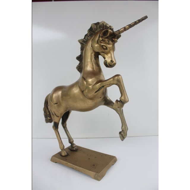 1970s Regency Solid Brass Unicorn Sculpture For Sale In Miami - Image 6 of 8