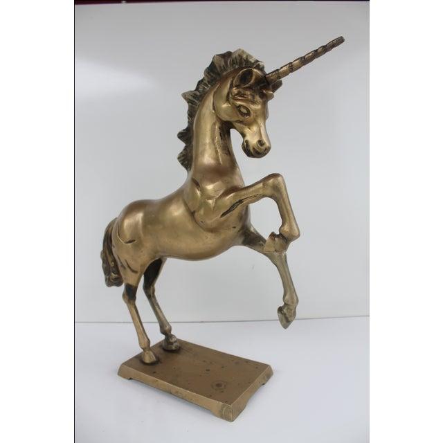 1970s Regency Solid Brass Unicorn Sculpture - Image 6 of 8