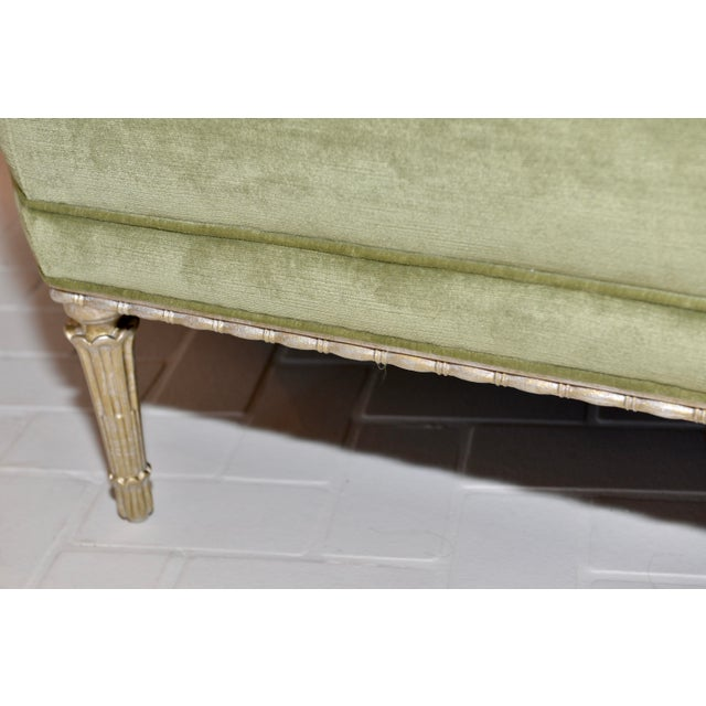 Caracole Caracole Modern Celery Green Velvet and White Stone Round/Octagonal Banquette For Sale - Image 4 of 8