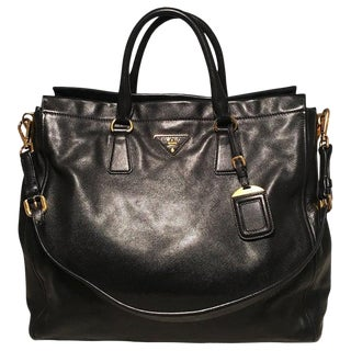 Prada Black Leather Saffiano Top Handle Tote Shoulder Bag For Sale