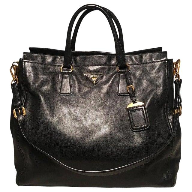 Prada Black Leather Saffiano Top Handle Tote Shoulder Bag For Sale