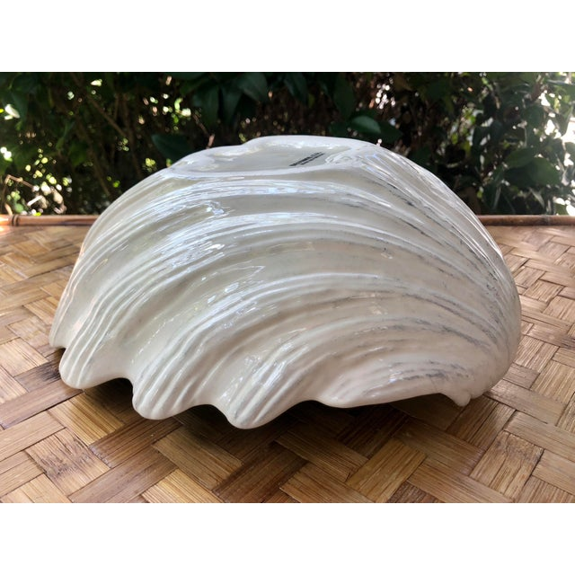 Large Portuguese Ceramic White Shell Planter Catchall Bowl For Sale - Image 9 of 11