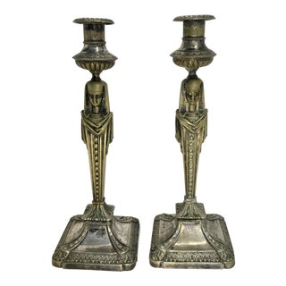 Antique English Egyptian Revival Silver Plate Candlesticks - a Pair For Sale