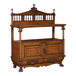 19th Century Antique Irish Carved Oak Sideboard For Sale
