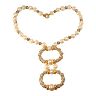 DeLillo Faux Pearl Necklace With Rhinestones Balls De Lillo Vintage For Sale