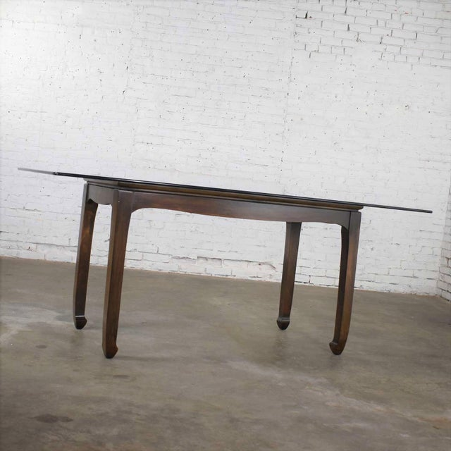 Vintage Chinoiserie Chow Leg Glass Top Dining Table Walnut Color Finish For Sale - Image 4 of 13