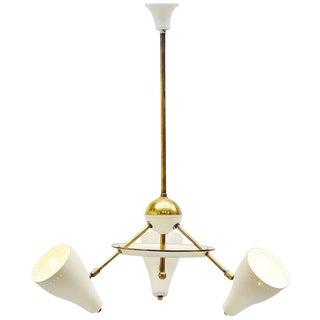 White & Brass Shades Italian Ceiling Lamp