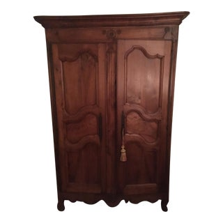 Flamed Mahogany French Normandy Armoire For Sale