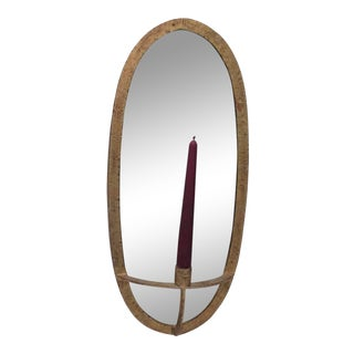 Anthropologie Oval Sconce With Mirrored Back and Antique Gold Finish For Sale