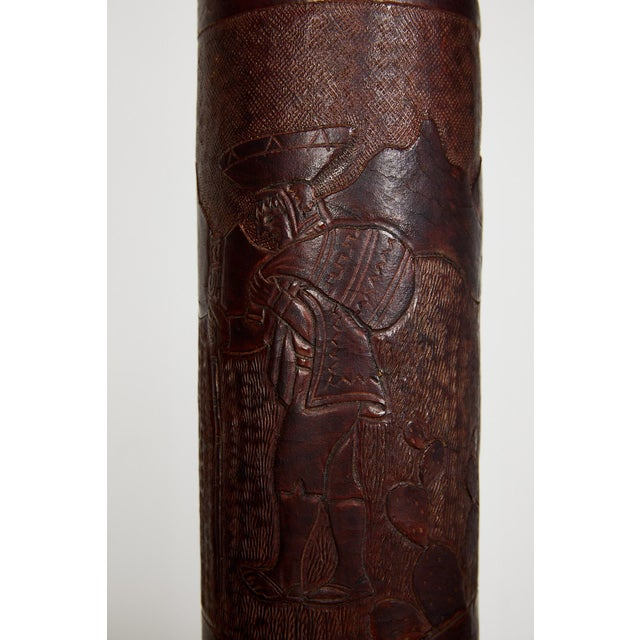 Vintage Peruvian Leather Lamps W/ Llama and Greek Key Decorations - a Pair For Sale - Image 9 of 13