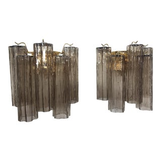 "Murano Grey Glass ""Tronchi"" Wall Sconces - a Pair For Sale"