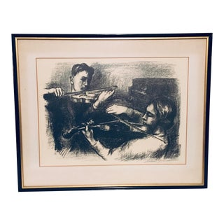 Vintage Early 20th Century Signed Framed Two Violinists Print For Sale