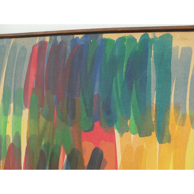 This is a large oil or acrylic on canvas by John F. Bledsoe. The style and period says the Washington school of color...
