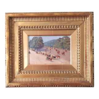 """Circa 1890s """"Riders and Strollers in Windsor Great Park"""" Oil Painting on Paper by A. Douglas-Hamilton, Framed For Sale"""