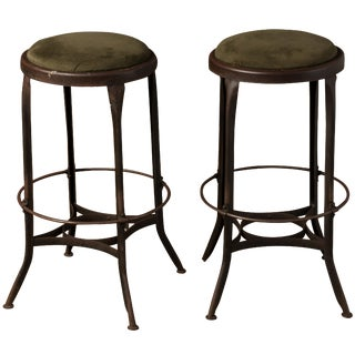 1940s Industrial Toledo Metal Furniture Stools - a Pair For Sale