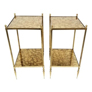 Pair of Maison Bagues Neoclassical Brass Side Table For Sale