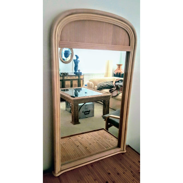 Beech Gabriella Crespi Style Rattan Framed Arch Shaped Wall Mirror For Sale - Image 7 of 8