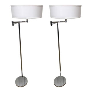 Von Nessen Articulated Chrome Floor Lamps - a Pair For Sale