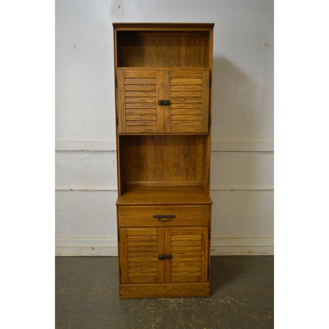 Brandt Ranch Oak Tall Narrow Bookcase Cabinet w/ Drawer & Doors For Sale - Image 11 of 12