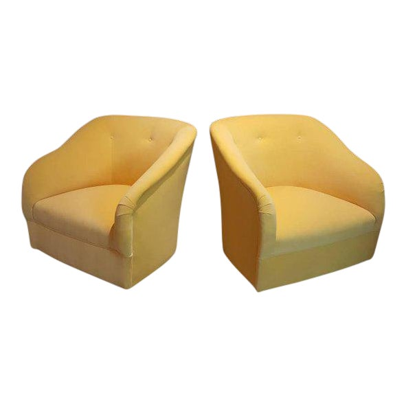Fully Restored 1960s Vintage Ward Bennett Canary Yellow Velvet Swivel Chairs - a Pair - Image 1 of 11