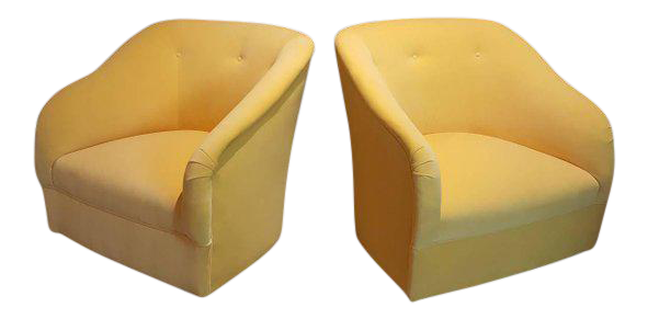 Fully Restored 1960s Vintage Ward Bennett Canary Yellow Velvet Swivel Chairs    A Pair | Chairish
