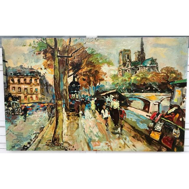 1960s Vintage Bridge, Street, Seine River - France Oil Painting For Sale - Image 9 of 9
