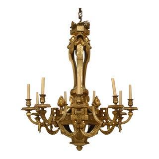 Important 19th Century French Louis XVI Style, Bronze Doré Twelve-Arm Chandelier For Sale