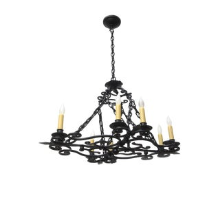 Wrought Iron Oblong Candle Chandelier For Sale