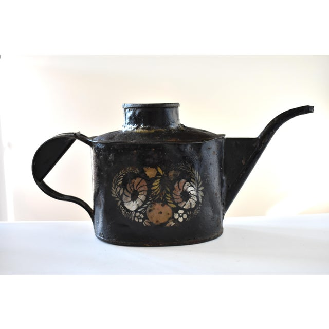 Antique 1830s Americana Painted Gold and Silver Tole Watering Pot For Sale - Image 11 of 12