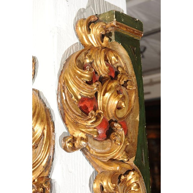 Pair of Italian Paint and Giltwood Architectural Carvings For Sale - Image 5 of 7