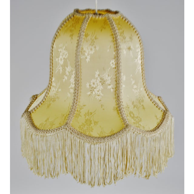 Vintage Victorian Style Bell Shaped Fringe Lamp Shade Condition consistent with age and history. Small pull in fabric...