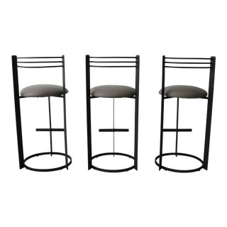 Set of 3 Post Modern Italian Memphis Milano Minimalist Style Bar Stools For Sale