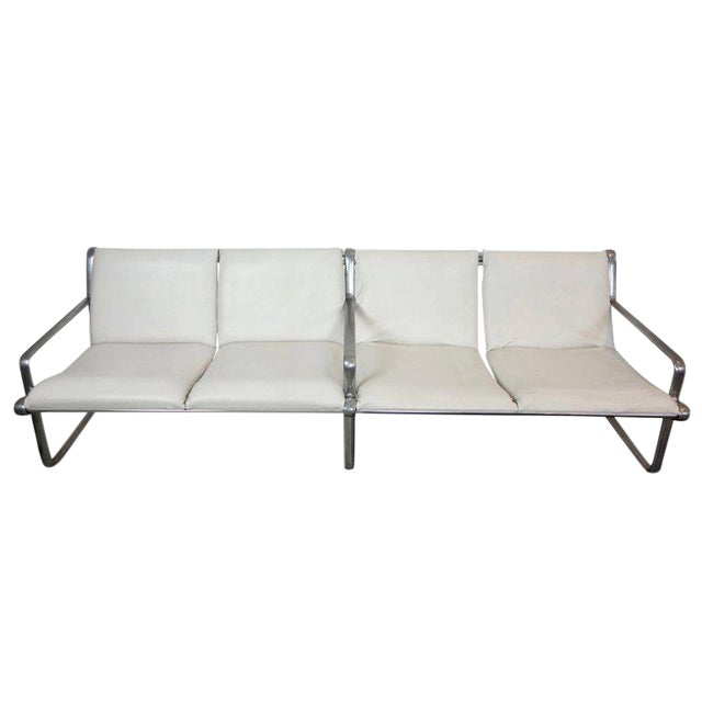 Hannah & Morrison Four-Seat White Leather Airport Sling Sofa For Sale