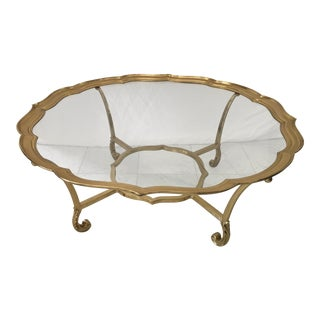 LaBarge Hollywood Regency Brass Scalloped Coffee Table For Sale
