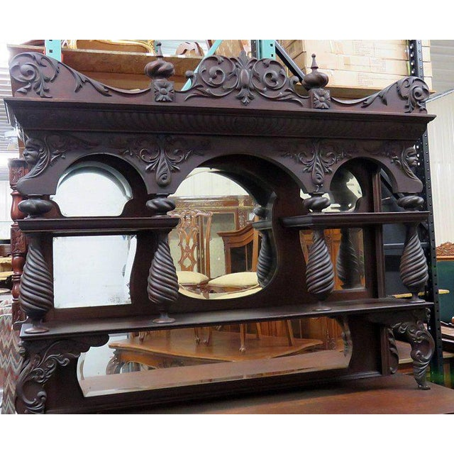 Horner style sideboard with superstructure. Carved oak with four drawers, four doors and one shelf.
