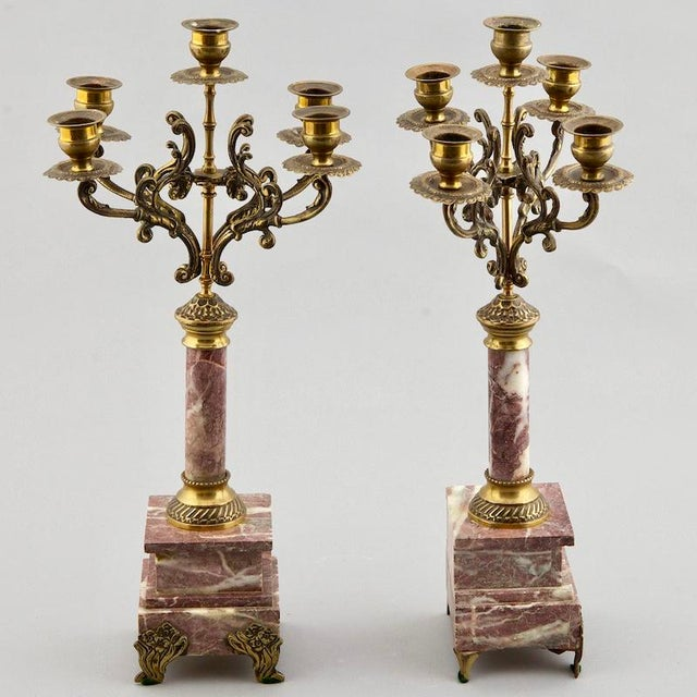 French French 19th C. Brass & Marble Candelabras - A Pair For Sale - Image 3 of 5