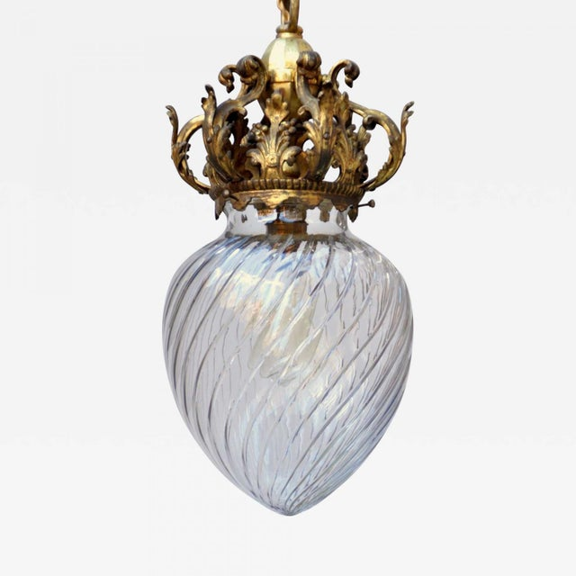 Early 20th C. Cut Crystal Pendant Lamp For Sale - Image 9 of 9