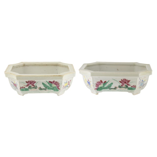 Early 19th C. Chinese Famille Rose Porcelain Bulb Planters- A Pair For Sale