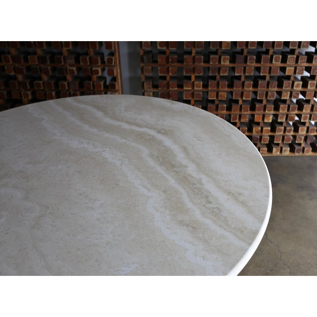 1980s Modern Style Travertine Centre Table For Sale In Los Angeles - Image 6 of 9