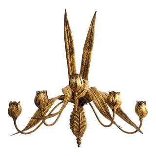 Vintage Gold Gilt Tole Sconce - Floral Tulip Candelabra For Sale