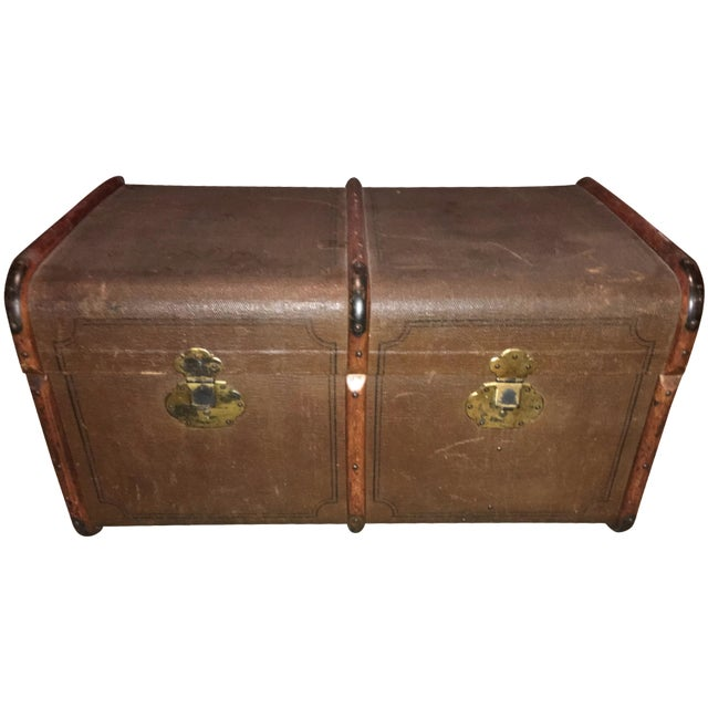 Antique Double Lock European Oak Banded Trunk - Image 1 of 11