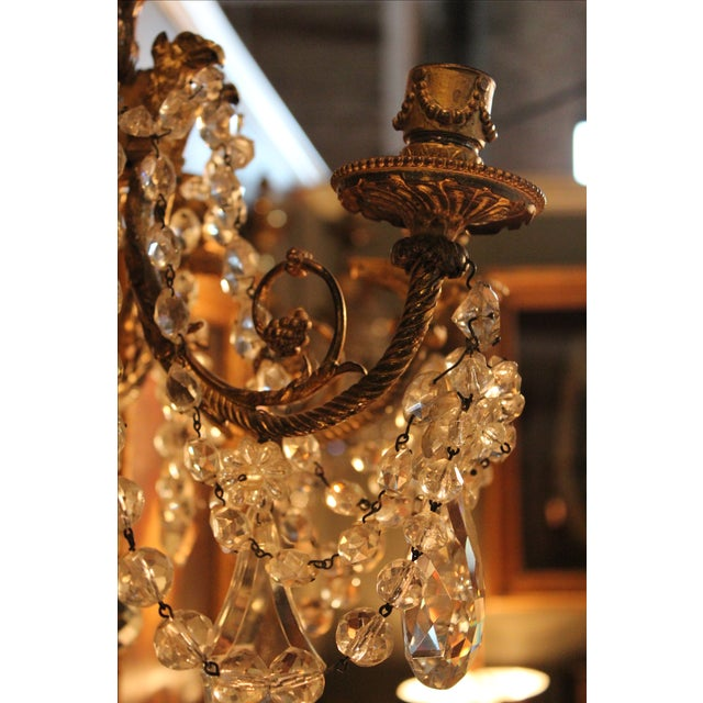 Antique French Bronze & Crystal Sconces - a Pair - Image 5 of 10