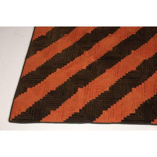 Fantastic 19thc Wool & Velvet Log Cabin Quilt - Image 6 of 7
