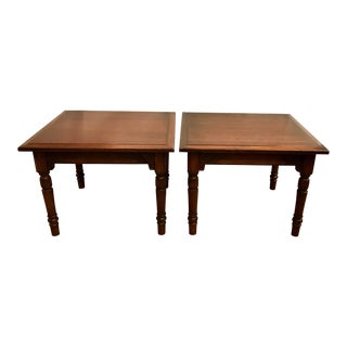 Mid Century Modern Beveled Top Solid Wood End Tables - a Pair For Sale