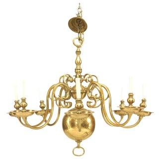 English Georgian Style Brass Chandelier For Sale